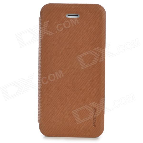 Protective Flip Open PU + PC Case w/ Stand for Iphone 5S - Brown protective flip open pu tpu case w stand for iphone 5 5s pink