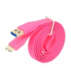 USB 2.0 to Micro USB 3.0 9-Pin Data/Charging Flat Cable for Samsung Note 3 N9000 - Deep Pink (100CM)