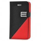 Protective Flip Open PU + Plastic Case w/ Stand / Card Slots for Iphone 4 - Black + Red