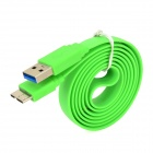 USB 2.0 to Micro USB 3.0 9-Pin Data/Charging Flat Cable for Samsung Note 3 N9000 - Green (100CM)
