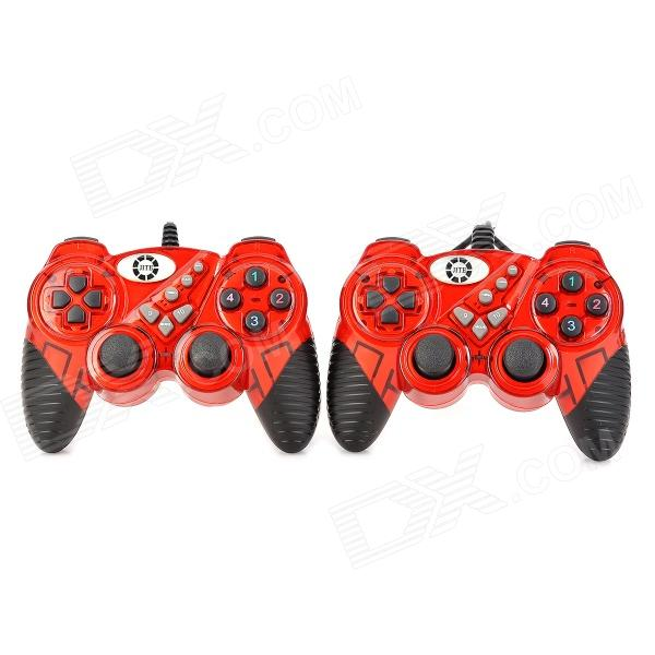 JITE USB-906B USB 2.0 Wired Double Vibration Game Controllers Set - Red + Black