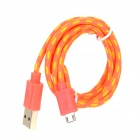 Micro USB Nylon + PVC Charging / Data Cable for Samsung / HTC / LG + More - Orange + Yellow (100cm)