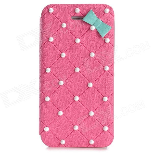 Cute Protective Flip Open PU Leather + PC Case for Iphone 4 / 4s - Pink protective pu leather flip open case for iphone 4 4s black