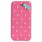 Cute Protective Flip Open PU Leather + PC Case for Iphone 4 / 4s - Pink