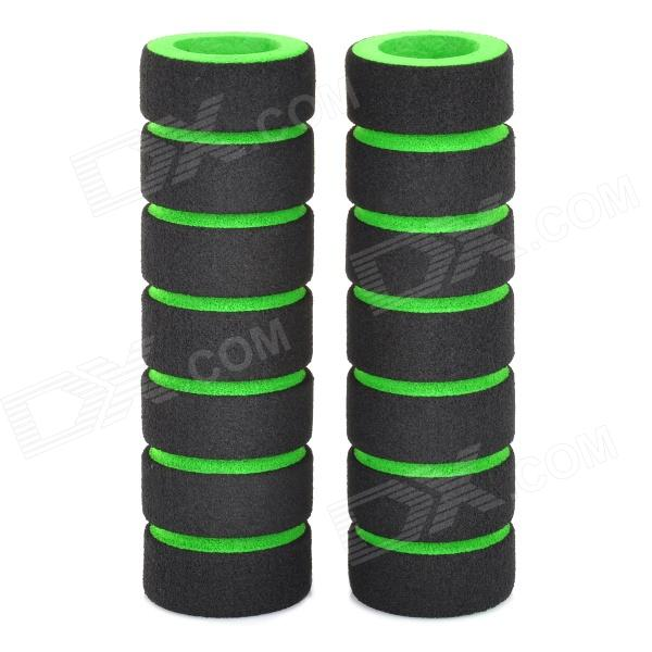 Sponge Non-Slip Handlebar Grip Covers for Bicycle - Green + Black (Pair)