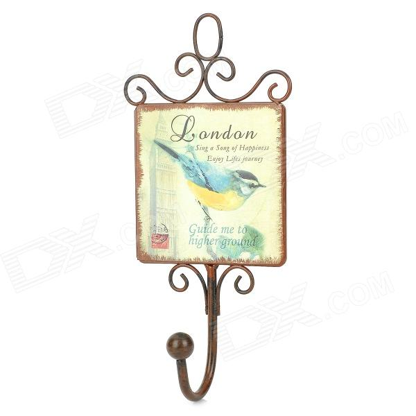 Retro Bird Pattern Single Hook Iron Hanger