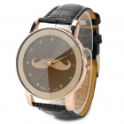 A-806 Moustache Pattern Dial Zinc Alloy Case PU Band Quartz Analog Wrist Watch - Black + Golden