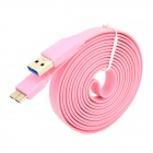 USB to Micro USB 3.0 9-Pin Data/Charging Flat Cable for Samsung Galaxy Note 3 N9000 - Pink (200CM)