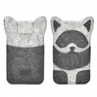 Raccoon Style Protective Wool Viscose Fabric Case for Samsung Note 3 - Black + Grey