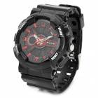 ALIKE AK1383 Sport Plastic Case Rubber Band Quartz Analog + Digital Wrist Watch for Men - Black