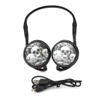 TX-Q9 3D Pirate Pattern Multifunction TF / FM Stereo Ear Hook Headset - Black + White