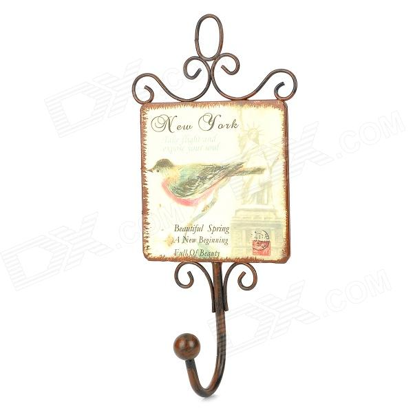 Retro New York Bird Pattern Single Hook Iron Hanger