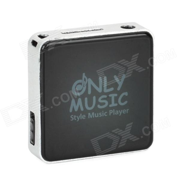 Mini Square Shape MP3 Player w/ TF - Black + Silver