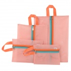 Mesh Style Portable Outdoor Travel Nylon Zipper Storage Bag - Pink (4 PCS)