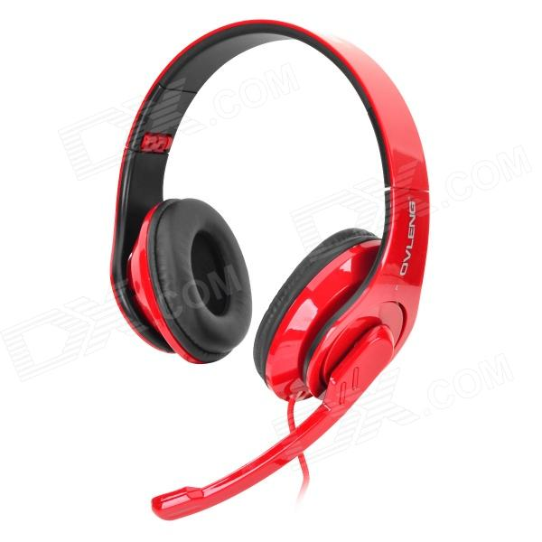 OVLENG X11 USB Wired Headphones w/ Microphone - Red + Black