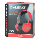 OVLENG A7 USB Wired Headphones w/ Microphone - Red + Grey