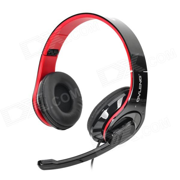 OVLENG Q8 USB Wired Headphones w/ Microphone - Black + Red