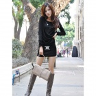 YLY-DXH306-9596# Fashion Cotton Long-sleeves Slim Dress for Women - Black