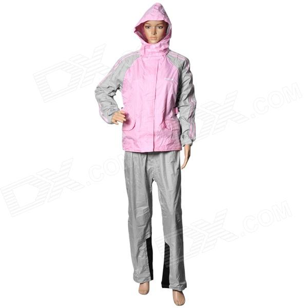 Pole M-21 Motorcycle Cycling Raincoat + Rain Pants Suit for Women - Pink + Grey (Size L)  2017 motoboy motocross riding sports car split raincoat rain pants suit professional male motorcycle rain gear and equipment