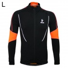 ARSUXEO Sport Running Fleece Elastic Jersey - Schwarz + Orange (L)