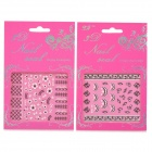 XF188189 3D Cute Pattern Decorative DIY Nail Art Stickers - White + Black (2 PCS)