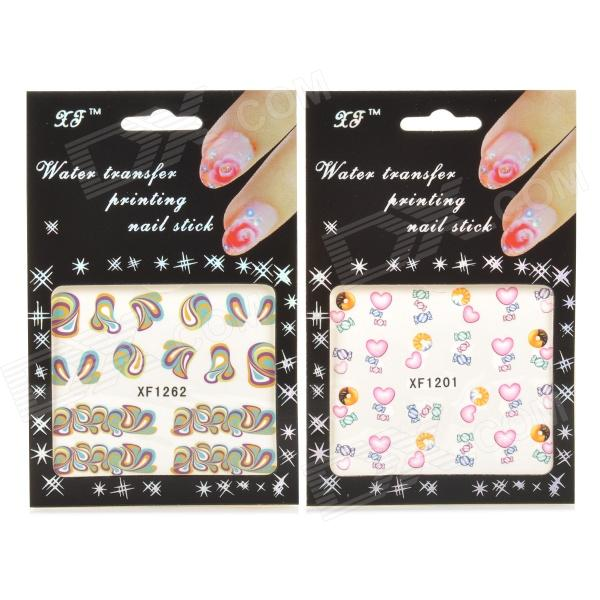XF XF12011262 Cute Patterns Nail Art Decoration Stickers - Multicolored (2 PCS)