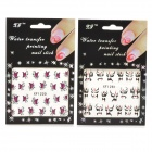 XF 12201261 3D Flower Face Pattern Nail Art Sticker - Black + Red + Green