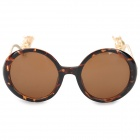 GIM.MAX A94-719 Stylish Women's UV400 Protection PC Frame Resin Lens Sunglasses - Brown + Golden