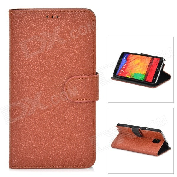 Lichee Pattern Protective Flip Open PU Leather Case w/ Stand for Samsung Note 3 N9000 - Brown protective pu leather flip open case w stand for samsung note 3 n9000 deep pink light green
