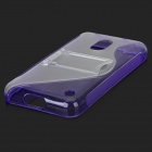 "Stylish ""S"" Pattern TPU + Plastic Protective Back Case w/ Stand for Nokia 620 - Purple + Transparent"