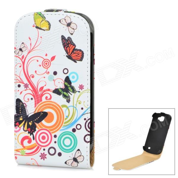 Butterfly Pattern PU Leather Protective Top Flip Open Case for Samsung Galaxy Express i8730 - White protective frosted abs back case for samsung galaxy express i8730 white