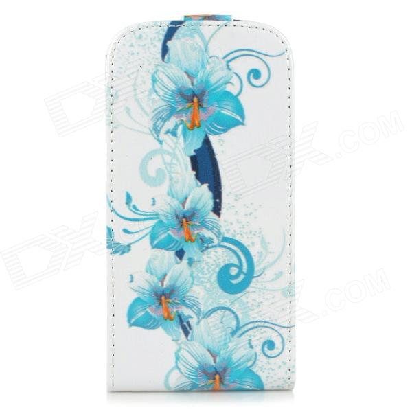 Flower Pattern Protective Top Flip Open PU Leather Case for Samsung Galaxy S3 i9300 - Blue + White