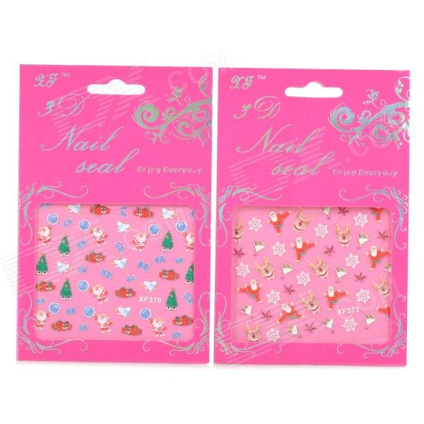 XF370 372 3D Christmas Style Nail stickers - Multicolored