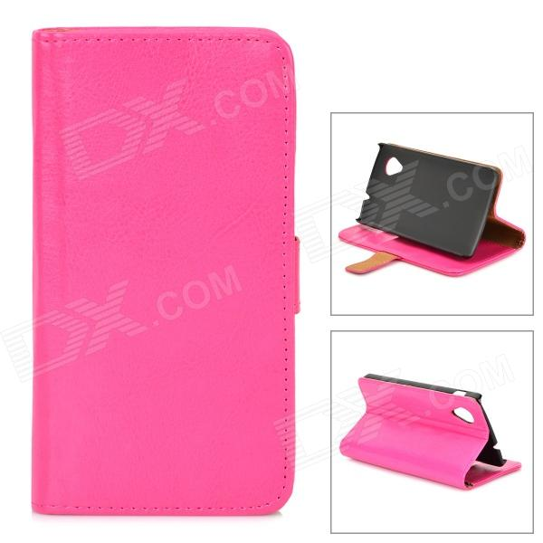 Protective Flip Open PU Leather Case w/ Stand / Card Slots for LG Nexus 5 E980 / D820 - Deep Pink protective pu leather flip open case w stand for samsung note 3 n9000 deep pink light green