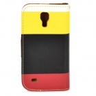 Protective Flip Open PU Case w/ Stand / Card Slots for Samsung Galaxy S4 Mini i9190 - White + Yellow