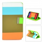 Protective Flip Open PU + TPU Case w/ Stand for Samsung Note 3 N9000 - Blue + White + Orange + Brown
