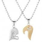 SHIYING G4FED9AB678911 Heart Style Couple's 316L Stainless Steel Necklace - Silver + Golden (2 PCS)