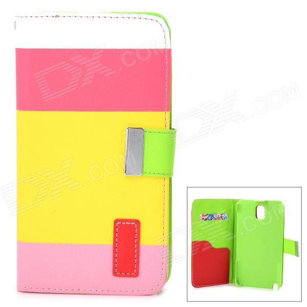 Protective PU Leather Case w/ Stand / Card Slots for Samsung Galaxy Note 3 / N9000 + More - Yellow protective pu leather flip open case w stand for samsung note 3 n9000 deep pink light green