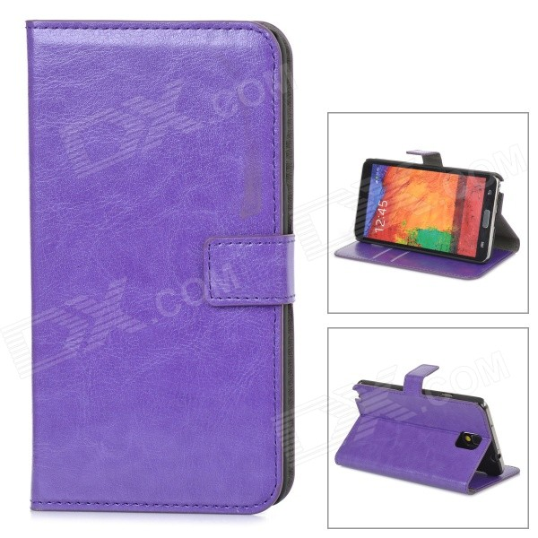 Protective PU Leather Case for Samsung Galaxy Note 3 N9000 - Purple metal ring holder combo phone bag luxury shockproof case for samsung galaxy note 8