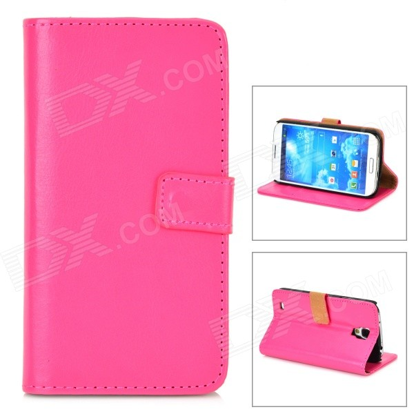Protective Flip Open PU Case w/ Stand / Card Slots for Samsung Galaxy S4 Active / I9295 - Deep Pink protective pu leather flip open case w stand for samsung note 3 n9000 deep pink light green