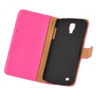Protective Flip Open PU Case w/ Stand / Card Slots for Samsung Galaxy S4 Active / I9295 - Deep Pink