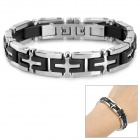 RUINUO SA1009 Cross Style 316L Stainless Steel Bracelet for Men - Black + Silver