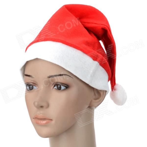 Festivous Lint Santa's Hat for Christmas Party - Red + White