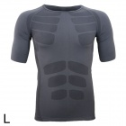 ARSUXEO Sports Running Exercise Short-Sleeve Slim Fit T-Shirt - Grey (Size L)