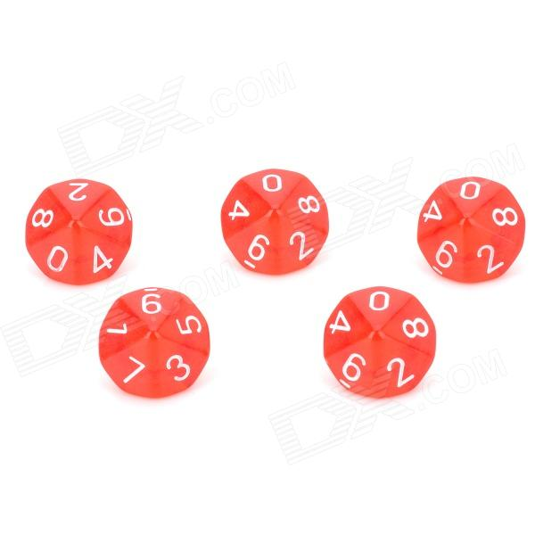 Acrylic Polyhedral Dice for Board Game - Translucent Red (5 PCS) acrylic polyhedral dice for board game translucent light blue 5 pcs
