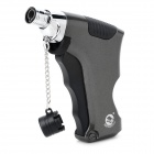 Pistol Style Windproof Gas Butane Jet Lighter - Grey + Silver + Black