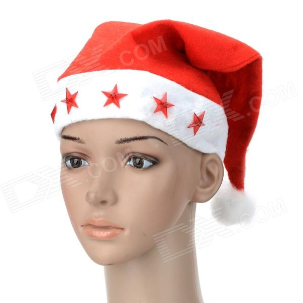 Festivous Lint Santa's Hat w/ LED Lights for Christmas Party - Red + White