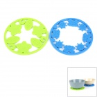 Round Shaped Hollowed Silicone Heat Resistant Pads - Blue + Green (2 PCS)
