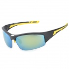 CARSHIRO 9383 Men's UV400 Protection Polarized PC Frame Resin Lens Sunglasses - Black + Yellow
