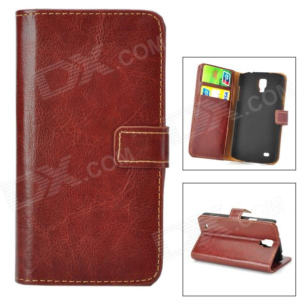 Stylish Flip-open PU Leather Case w/ Card Slot + Holder for Samsung Galaxy S4 Active / i9295 - Brown